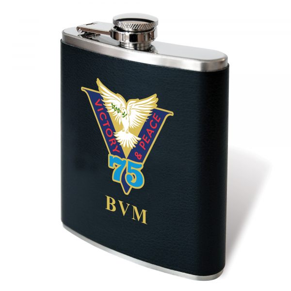 Victory & Peace 75 Black Leatherette Hip Flask