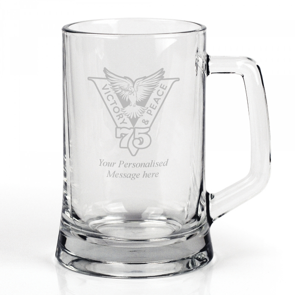 Victory & Peace 75 Glass Tankard