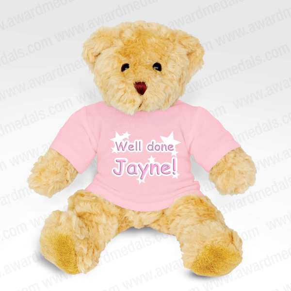 Teddy Bear With Personalised Baby Pink T-Shirt
