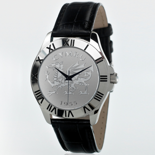 Mens Welsh Black Leather Patriot Watch