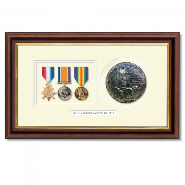 Set of 3 WW1 Medals and Memorial Plaque Framed