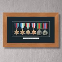 Light Oak Medal Frame for 6 Medals