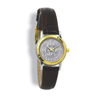 Contemporary, Ladies, Two-Toned Case, Tan Leather Strap, Silver Coin