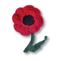 Crocheted Poppy Brooch