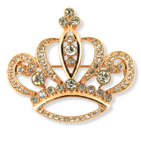 Rose Gold Finish Crown Brooch