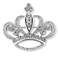 Silver Finish Crown Brooch