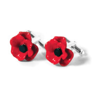 Enamelled Poppy Cufflinks