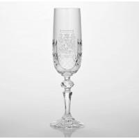 Family Crest Cut Glass Flute