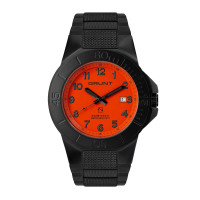 The Tough Watch, Orange Dial, Blackout Case & Bezel, Black Stainless Bracelet