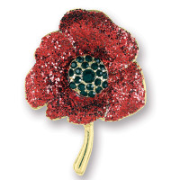 Glitter Finish Poppy Brooch