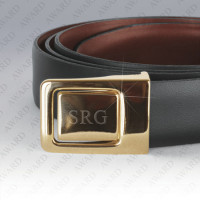 Reversible Leather Belt with Engraved Buckle