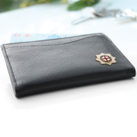 Leather Card Holder With Badge