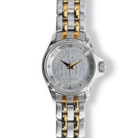 Lifestyle Coinwatch with Sixpence, Silver Case, 2-tone Bracelet