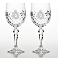 Set of Two Cut Glass Panel Detail Wine Glasses