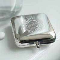 Square Silver Pill Box