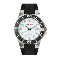 The Tough Watch, White Dial, Stainless Case, Black Bezel, Silicon Strap