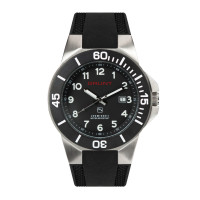 The Tough Watch, Black Dial, Stainless Case, Black Bezel, Silicon Strap