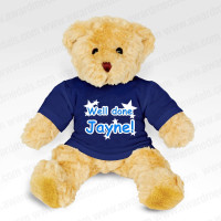 Teddy Bear with Personalised Navy Blue T-Shirt
