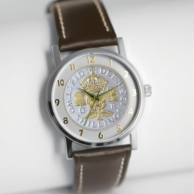 The Florin Watch With Bi-toned Coin & Tan Leather Strap