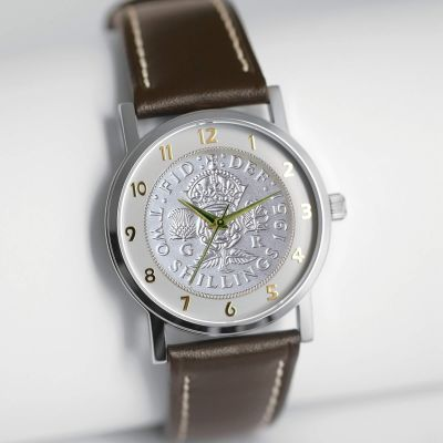 The Florin Watch With Silver Coin & Leather Strap