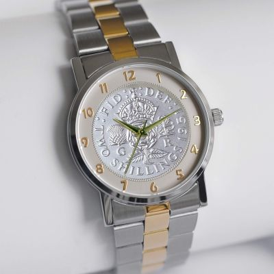 The Florin Watch With Silver Coin & Bi-toned Bracelet