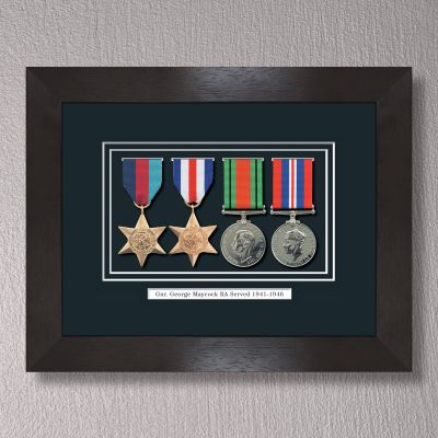 Black Stain WWII Frame With Medals