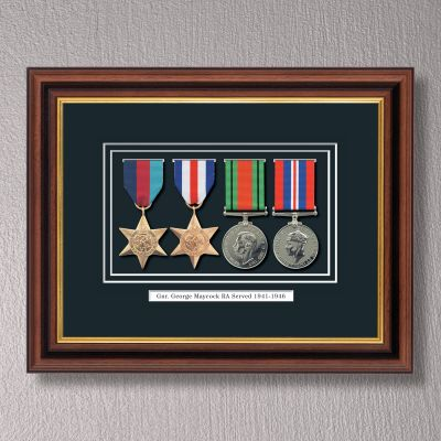 Mahogany & Gilt WWII Frame With Medals