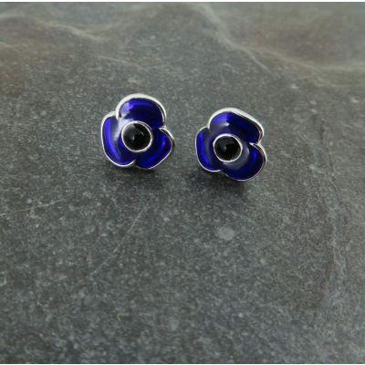 Purple Poppy Stud Earrings