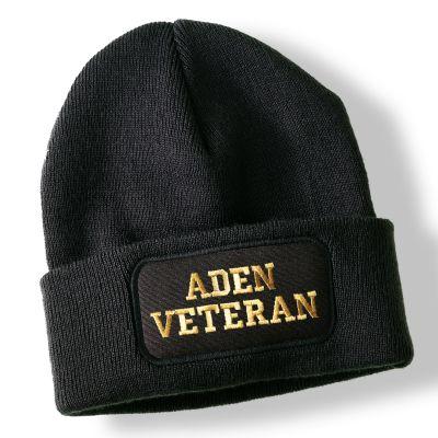 Aden Veteran Black Acrylic Beanie Hat