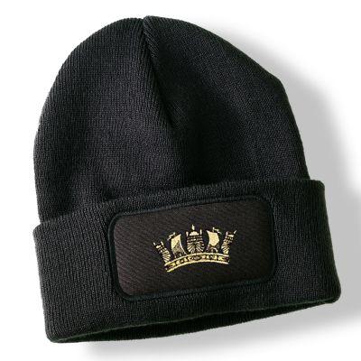 Royal Navy Crown Black Acrylic Beanie Hat