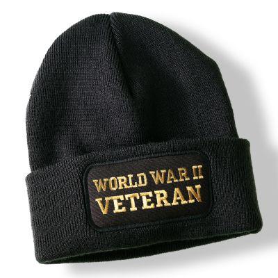 World War II Veteran Black Acrylic Beanie Hat