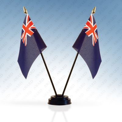 Blue Ensign Double Table Flags With Stand