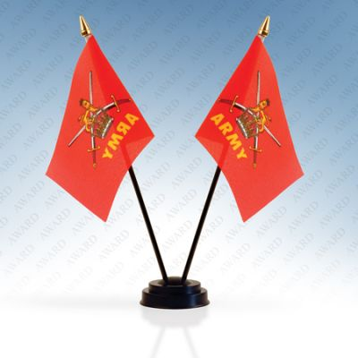 British Army Double Table Flags With Stand