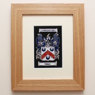 Framed Embroidered Coat Of Arms In Light Oak