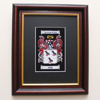 Framed Embroidered Coat Of Arms In Mahogany & Gilt