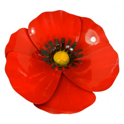 Hand Crafted Metal Poppy Sculpture Magnet