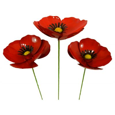 Hand crafted Red Poppy Sculpture