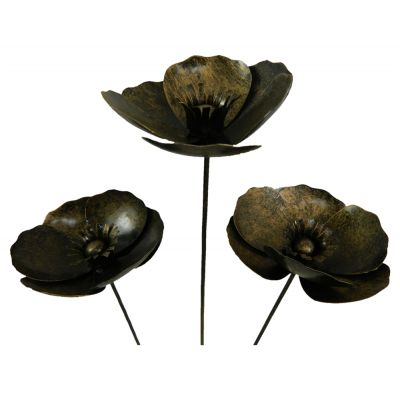 Set Of 6 Hand crafted Gold Poppy Sculpture