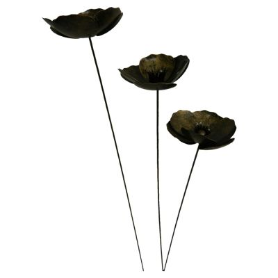 Set Of 3 Hand crafted Gold Poppy Sculpture