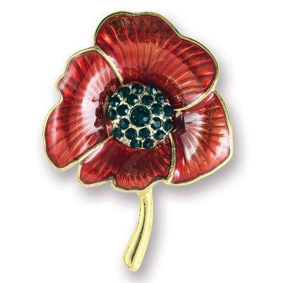 Enamelled Poppy Brooch