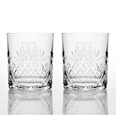 Presentation Set of 2 Family Crest Panel Cut Glass Tumblers