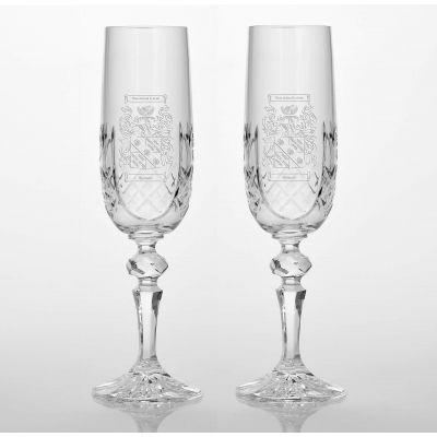 Cut Glass Champagne Flute Pair
