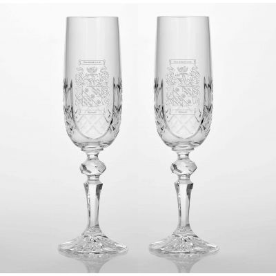 Presentation Set Of 2 Family Crest Panel Cut Glass Flutes