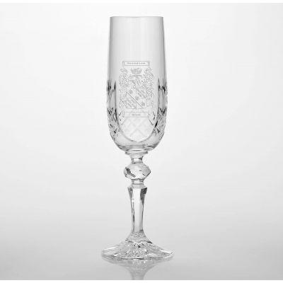 Family Crest Panel Cut Glass Flute 180ml