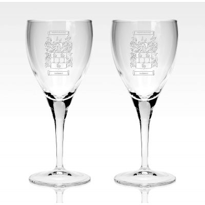 Presentation set of 2 Family Crest 8oz Wine Glass Pair With Box
