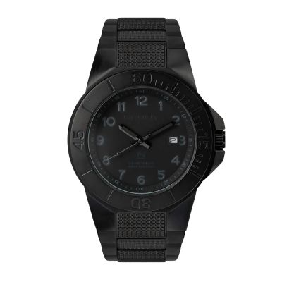 GBAS The Tough Watch, Blackout Dial, Case & Bezel, Black Stainless Bracelet