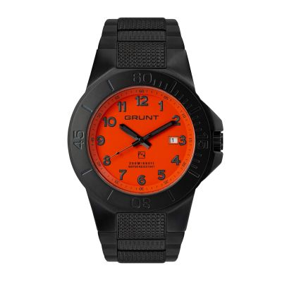 GBOS The Tough Watch, Orange Dial, Blackout Case & Bezel, Black Stainless Bracelet