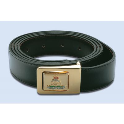 Reversible Black/Brown Leather Belt With Badge