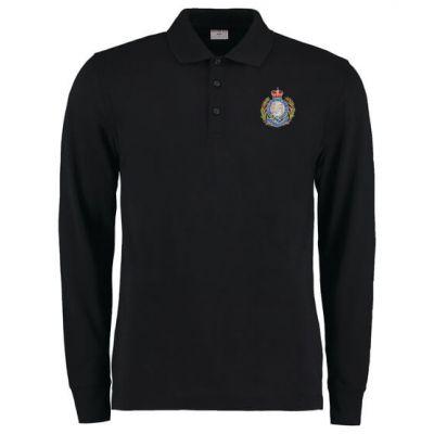 Personalised Long Sleeved Arundel Black Polo Shirt