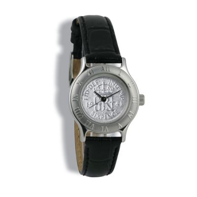 Summit Coinwatch, Ladies, Silver Case, Black Leather Strap, Silver Coin